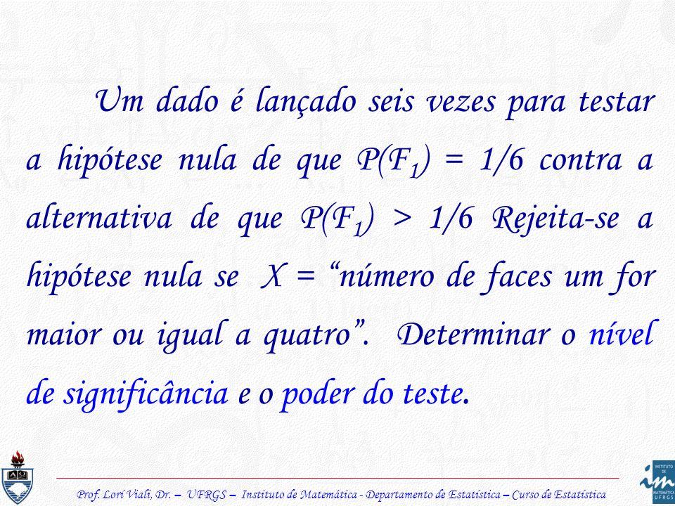 Um dado é lançado seis vezes para testar a hipótese nula de que P(F 1 ) = 1/6 contra a alternativa de que P(F 1 ) > 1/6 Rejeita-se a hipótese nula se