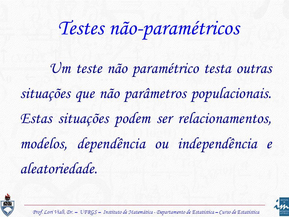 Testes não-paramétricos Um teste não paramétrico testa outras situações que não parâmetros populacionais. Estas situações podem ser relacionamentos, m