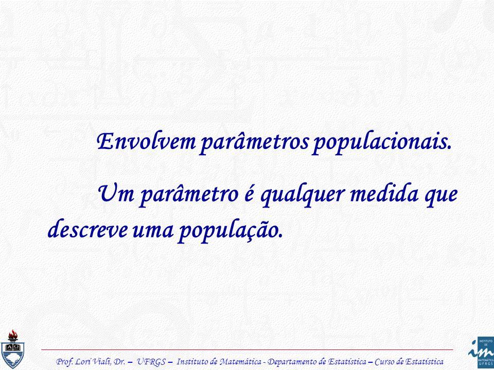 Envolvem parâmetros populacionais. Um parâmetro é qualquer medida que descreve uma população.