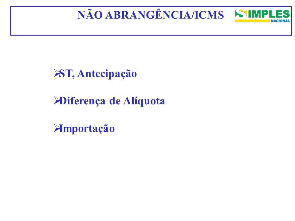 ST, Antecipação Diferença de Alíquota Importação NÃO ABRANGÊNCIA/ICMS