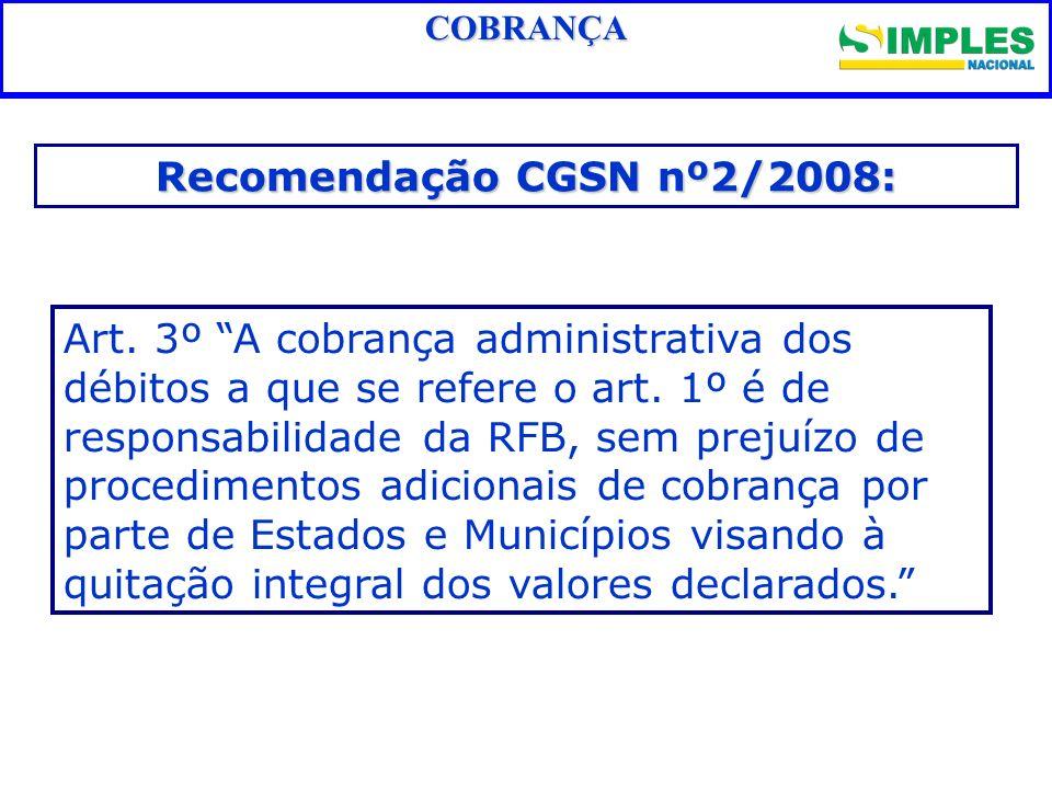 Fundamentação legal COBRANÇA Recomendação CGSN nº2/2008: Art. 3º A cobrança administrativa dos débitos a que se refere o art. 1º é de responsabilidade