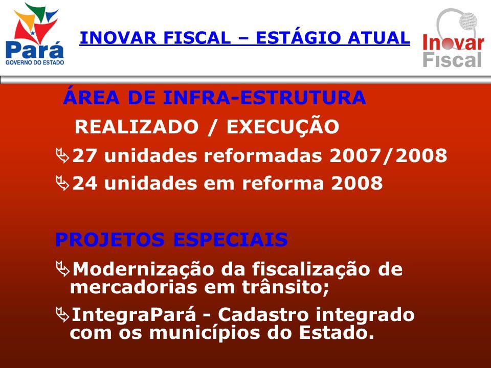 ÁREA DE INFRA-ESTRUTURA REALIZADO / EXECUÇÃO 27 unidades reformadas 2007/2008 24 unidades em reforma 2008 PROJETOS ESPECIAIS Modernização da fiscaliza