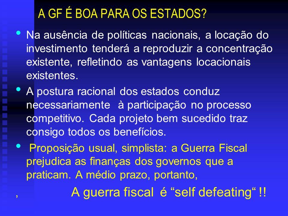 A GF É BOA PARA OS ESTADOS? Na ausência de políticas nacionais, a locação do investimento tenderá a reproduzir a concentração existente, refletindo as