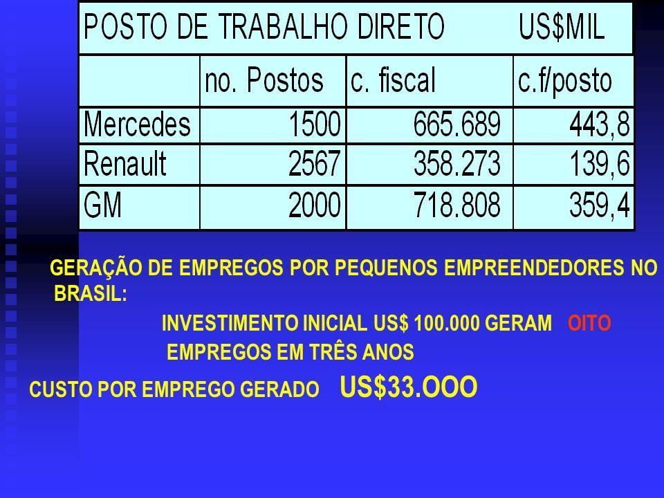 GERAÇÃO DE EMPREGOS POR PEQUENOS EMPREENDEDORES NO BRASIL: INVESTIMENTO INICIAL US$ 100.000 GERAM OITO EMPREGOS EM TRÊS ANOS CUSTO POR EMPREGO GERADO