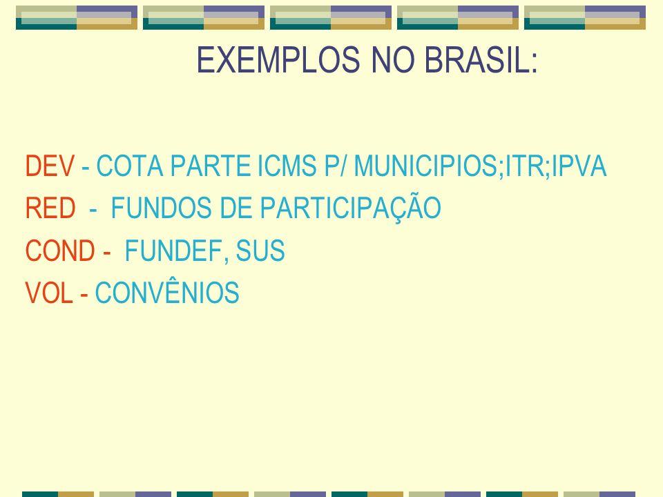 EXEMPLOS NO BRASIL: DEV - COTA PARTE ICMS P/ MUNICIPIOS;ITR;IPVA RED - FUNDOS DE PARTICIPAÇÃO COND - FUNDEF, SUS VOL - CONVÊNIOS