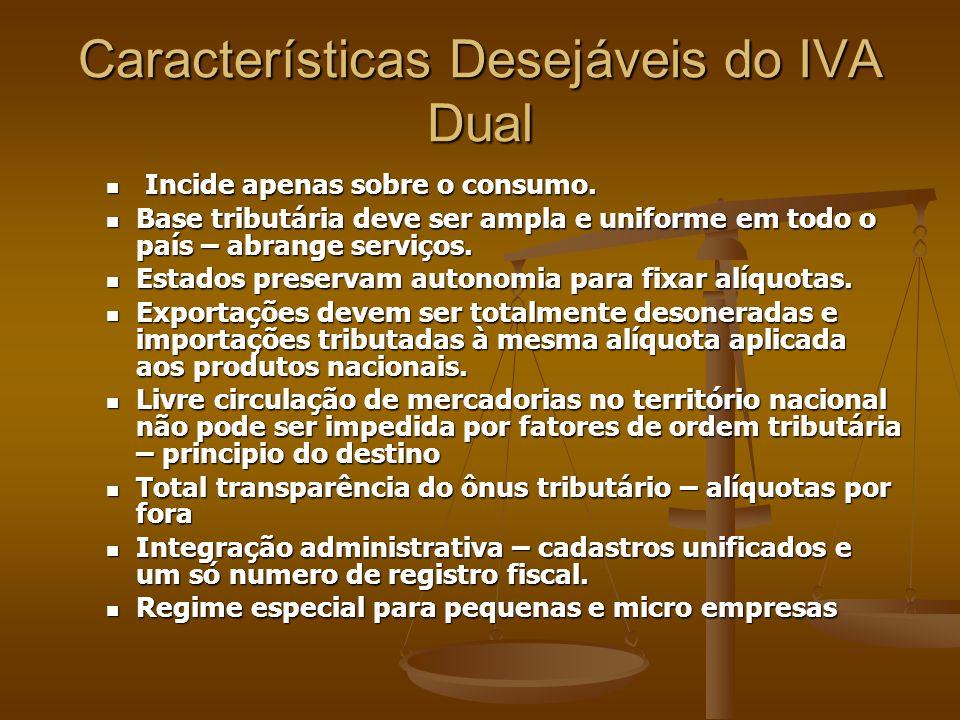 Características Desejáveis do IVA Dual Incide apenas sobre o consumo.
