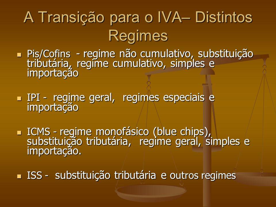 A Transição para o IVA– Distintos Regimes Pis/Cofins - regime não cumulativo, substituição tributária, regime cumulativo, simples e importação Pis/Cofins - regime não cumulativo, substituição tributária, regime cumulativo, simples e importação IPI - regime geral, regimes especiais e importação IPI - regime geral, regimes especiais e importação ICMS - regime monofásico (blue chips), substituição tributária, regime geral, simples e importação.