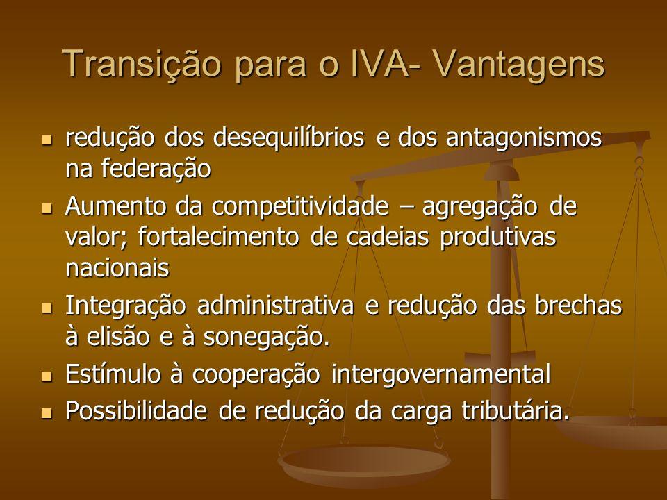 Transição para o IVA- Vantagens redução dos desequilíbrios e dos antagonismos na federação redução dos desequilíbrios e dos antagonismos na federação Aumento da competitividade – agregação de valor; fortalecimento de cadeias produtivas nacionais Aumento da competitividade – agregação de valor; fortalecimento de cadeias produtivas nacionais Integração administrativa e redução das brechas à elisão e à sonegação.
