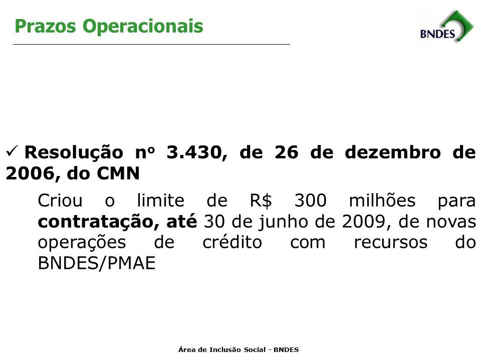Área de Inclusão Social - BNDES Prazos Operacionais Resolução n o 3.430, de 26 de dezembro de 2006, do CMN Criou o limite de R$ 300 milhões para contratação, até 30 de junho de 2009, de novas operações de crédito com recursos do BNDES/PMAE