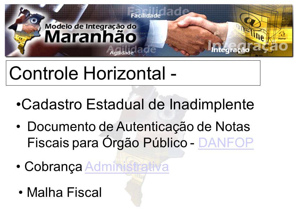 Controle Horizontal - Cadastro Estadual de Inadimplente Documento de Autenticação de Notas Fiscais para Órgão Público - DANFOPDANFOP Cobrança AdministrativaAdministrativa Malha Fiscal