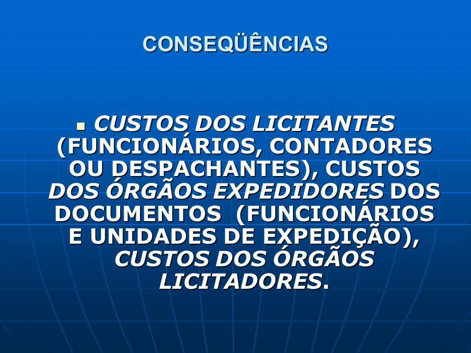 CONSEQÜÊNCIAS CUSTOS DOS LICITANTES (FUNCIONÁRIOS, CONTADORES OU DESPACHANTES), CUSTOS DOS ÓRGÃOS EXPEDIDORES DOS DOCUMENTOS (FUNCIONÁRIOS E UNIDADES DE EXPEDIÇÃO), CUSTOS DOS ÓRGÃOS LICITADORES.