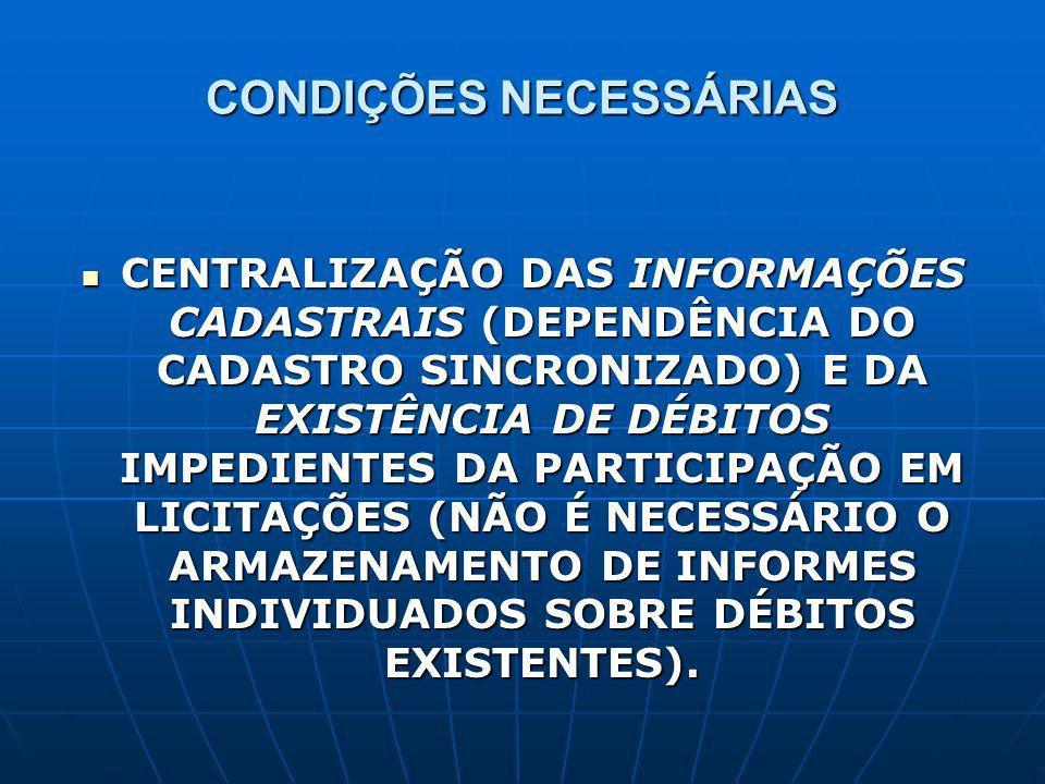 CONDIÇÕES NECESSÁRIAS CENTRALIZAÇÃO DAS INFORMAÇÕES CADASTRAIS (DEPENDÊNCIA DO CADASTRO SINCRONIZADO) E DA EXISTÊNCIA DE DÉBITOS IMPEDIENTES DA PARTICIPAÇÃO EM LICITAÇÕES (NÃO É NECESSÁRIO O ARMAZENAMENTO DE INFORMES INDIVIDUADOS SOBRE DÉBITOS EXISTENTES).