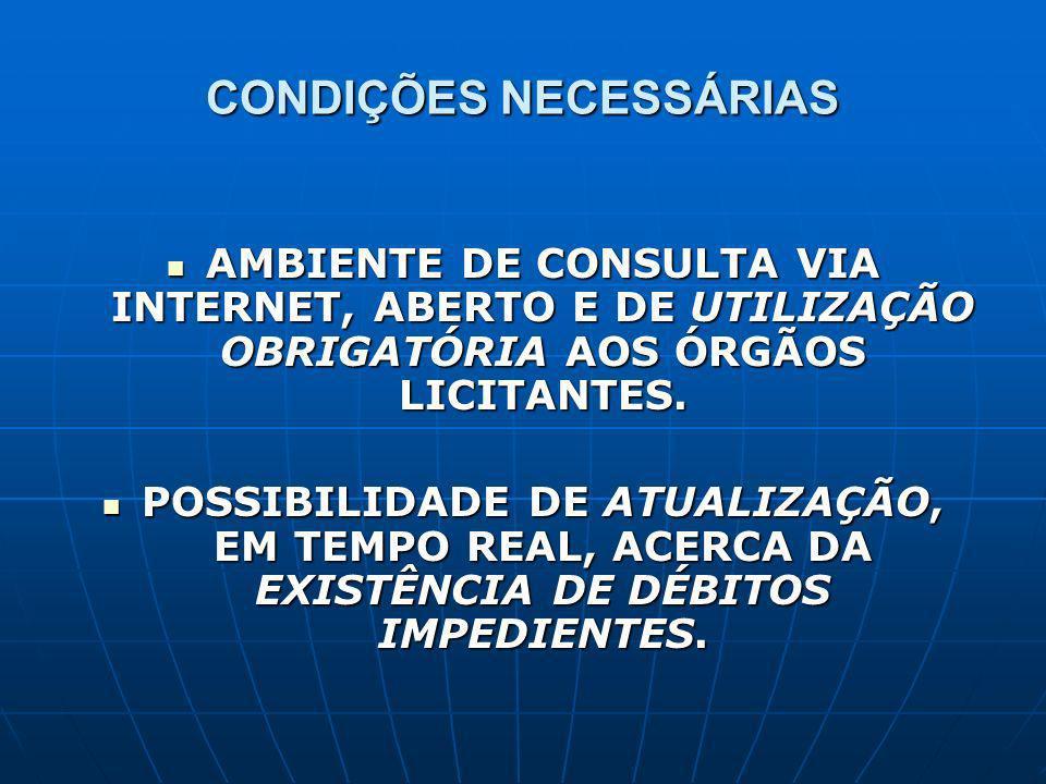 CONDIÇÕES NECESSÁRIAS AMBIENTE DE CONSULTA VIA INTERNET, ABERTO E DE UTILIZAÇÃO OBRIGATÓRIA AOS ÓRGÃOS LICITANTES.