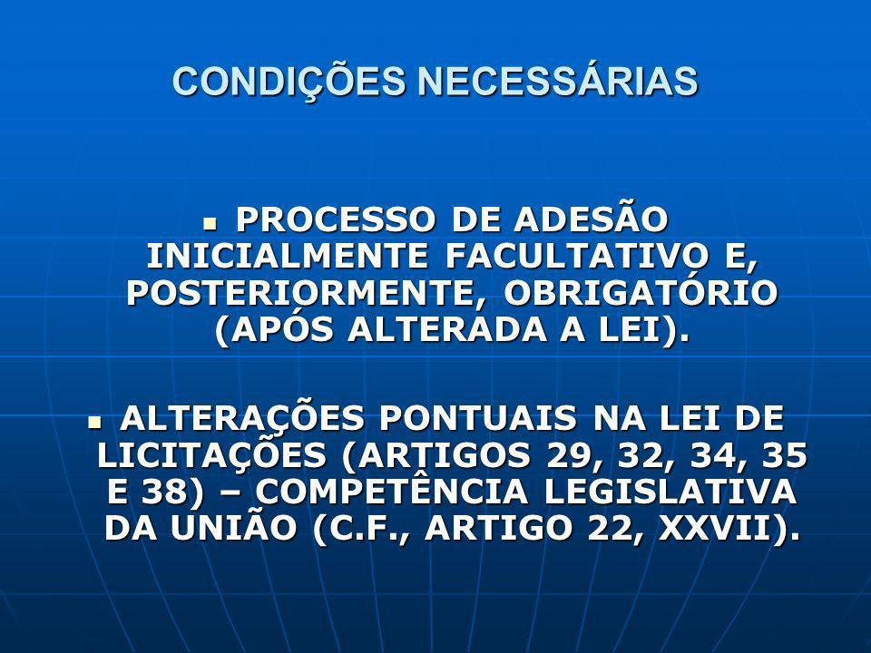 CONDIÇÕES NECESSÁRIAS PROCESSO DE ADESÃO INICIALMENTE FACULTATIVO E, POSTERIORMENTE, OBRIGATÓRIO (APÓS ALTERADA A LEI). PROCESSO DE ADESÃO INICIALMENT