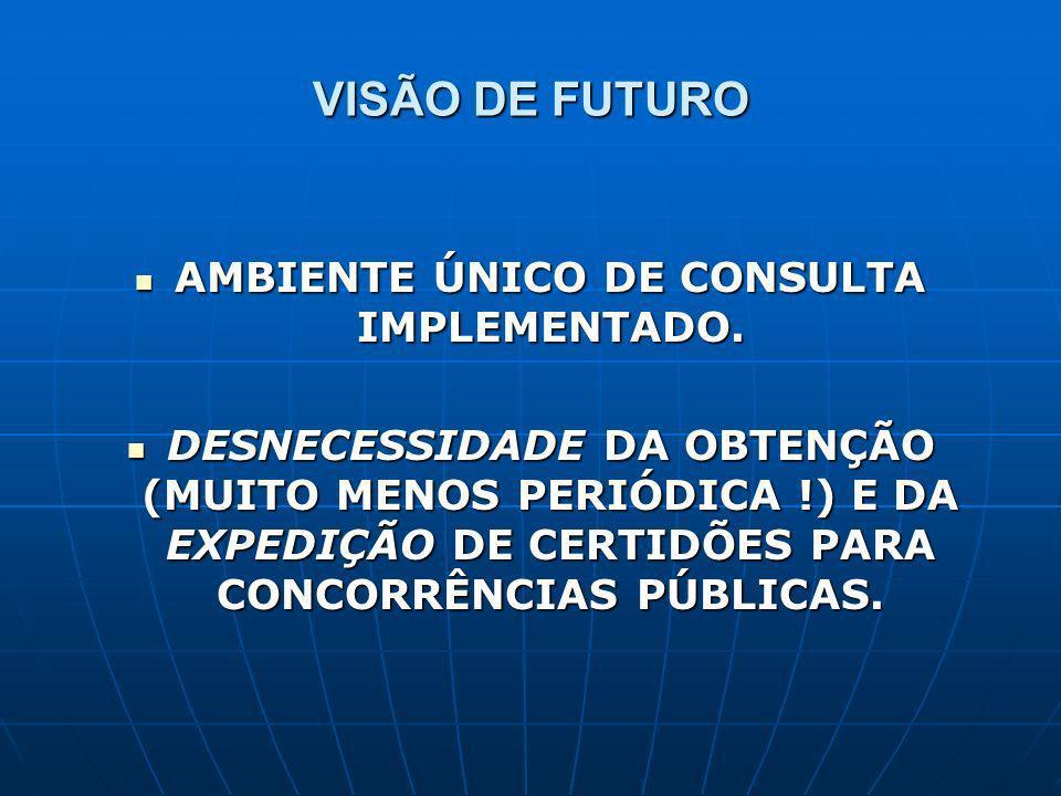 VISÃO DE FUTURO AMBIENTE ÚNICO DE CONSULTA IMPLEMENTADO. AMBIENTE ÚNICO DE CONSULTA IMPLEMENTADO. DESNECESSIDADE DA OBTENÇÃO (MUITO MENOS PERIÓDICA !)