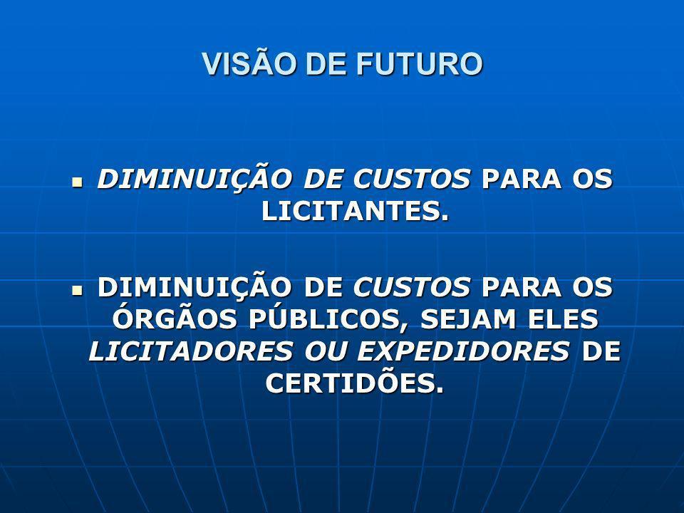 VISÃO DE FUTURO DIMINUIÇÃO DE CUSTOS PARA OS LICITANTES.