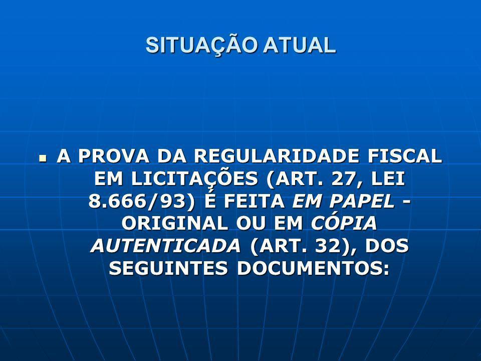 SITUAÇÃO ATUAL A PROVA DA REGULARIDADE FISCAL EM LICITAÇÕES (ART. 27, LEI 8.666/93) É FEITA EM PAPEL - ORIGINAL OU EM CÓPIA AUTENTICADA (ART. 32), DOS