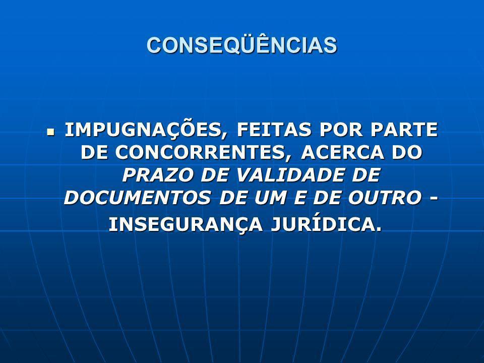 CONSEQÜÊNCIAS IMPUGNAÇÕES, FEITAS POR PARTE DE CONCORRENTES, ACERCA DO PRAZO DE VALIDADE DE DOCUMENTOS DE UM E DE OUTRO - IMPUGNAÇÕES, FEITAS POR PARTE DE CONCORRENTES, ACERCA DO PRAZO DE VALIDADE DE DOCUMENTOS DE UM E DE OUTRO - INSEGURANÇA JURÍDICA.