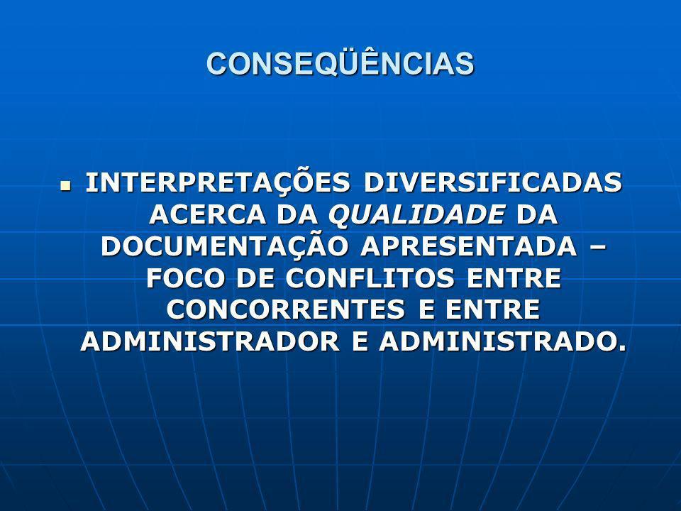 CONSEQÜÊNCIAS INTERPRETAÇÕES DIVERSIFICADAS ACERCA DA QUALIDADE DA DOCUMENTAÇÃO APRESENTADA – FOCO DE CONFLITOS ENTRE CONCORRENTES E ENTRE ADMINISTRADOR E ADMINISTRADO.