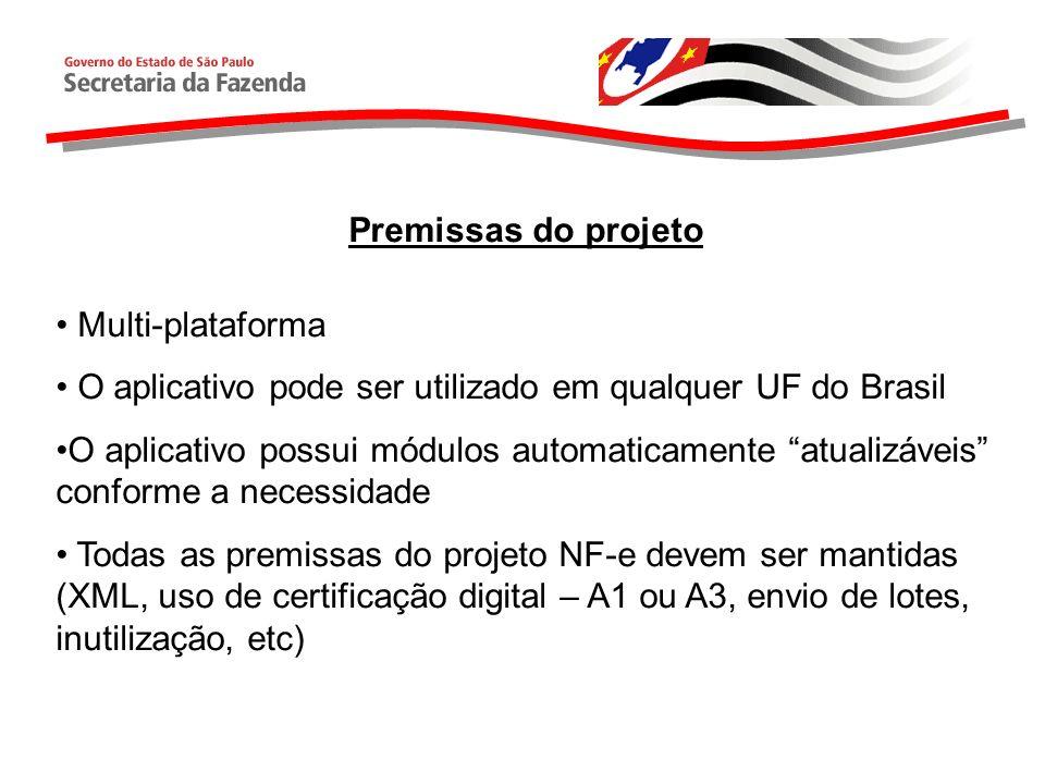 Premissas do projeto Multi-plataforma O aplicativo pode ser utilizado em qualquer UF do Brasil O aplicativo possui módulos automaticamente atualizávei