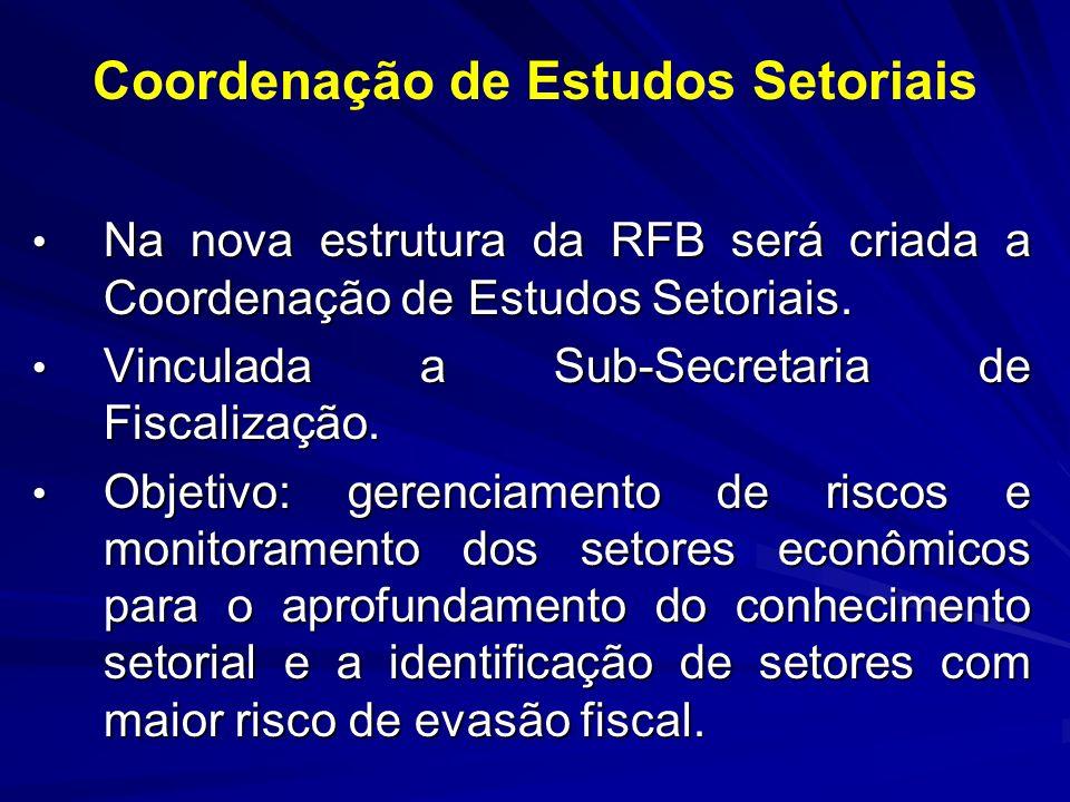 Coordenação de Estudos Setoriais Na nova estrutura da RFB será criada a Coordenação de Estudos Setoriais. Na nova estrutura da RFB será criada a Coord