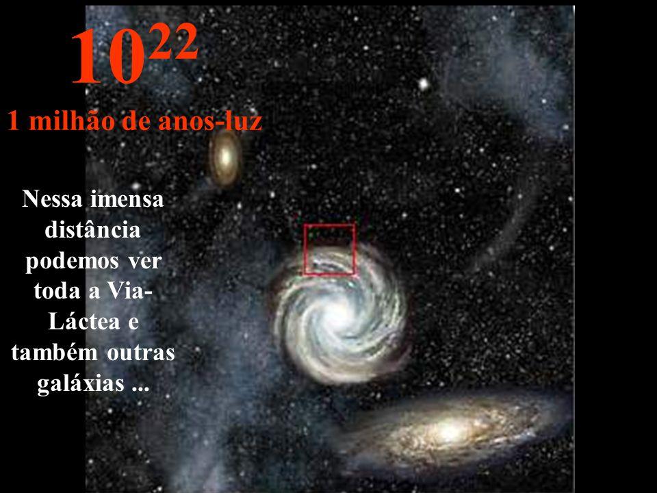 Agora chegamos na periferia da nossa Via-Láctea 10 21 100.000 anos-luz