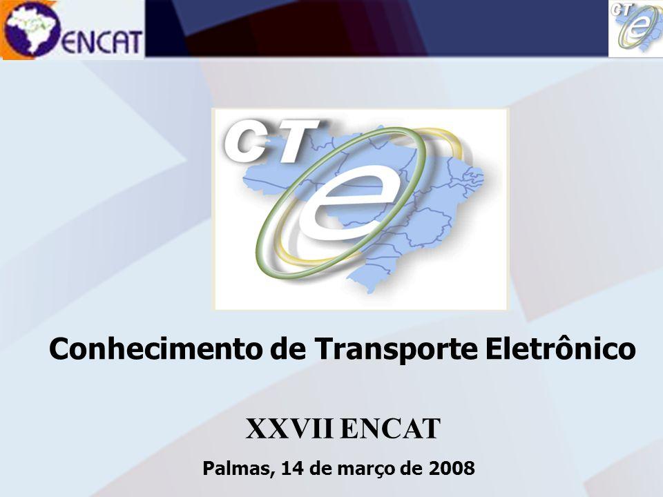 Soluções Tecnológicas em Administração Tributária ENCAT – ENCONTRO NACIONAL DE COORDENADORES E ADMINISTRADORES TRIBUTÁRIOS ESTADUAIS Conhecimento de Transporte Multimodal de Cargas Multimodal de Cargas Conhecimento de Transporte Multimodal de Cargas Multimodal de Cargas DACTE 1.está sendo discutido pelo grupo ANTT, ANAC, ANTAQ e empresas do segmento; Deverá ser implementado somente em 2009; 2.Dificuldades: Logística – não é praticada a modalidade no País; Legal - estão discutindo os pontos de deficiência, omissão, falta de regulamentação; 3.Proposta de alteração e criação de legislação.