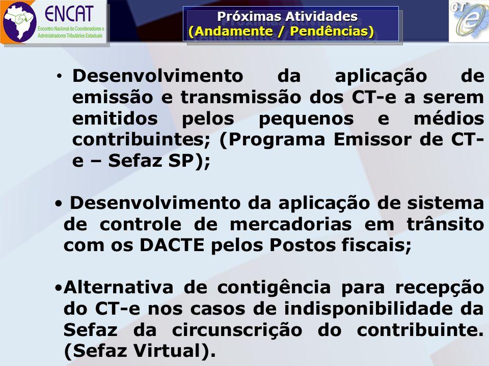 Soluções Tecnológicas em Administração Tributária ENCAT – ENCONTRO NACIONAL DE COORDENADORES E ADMINISTRADORES TRIBUTÁRIOS ESTADUAIS (CRONOGRAMA definido em 12/07) (CRONOGRAMA definido em 12/07) 02/06/08 – empresas do piloto devem iniciar processo de emissão do CT-e em fase pré- operacional;