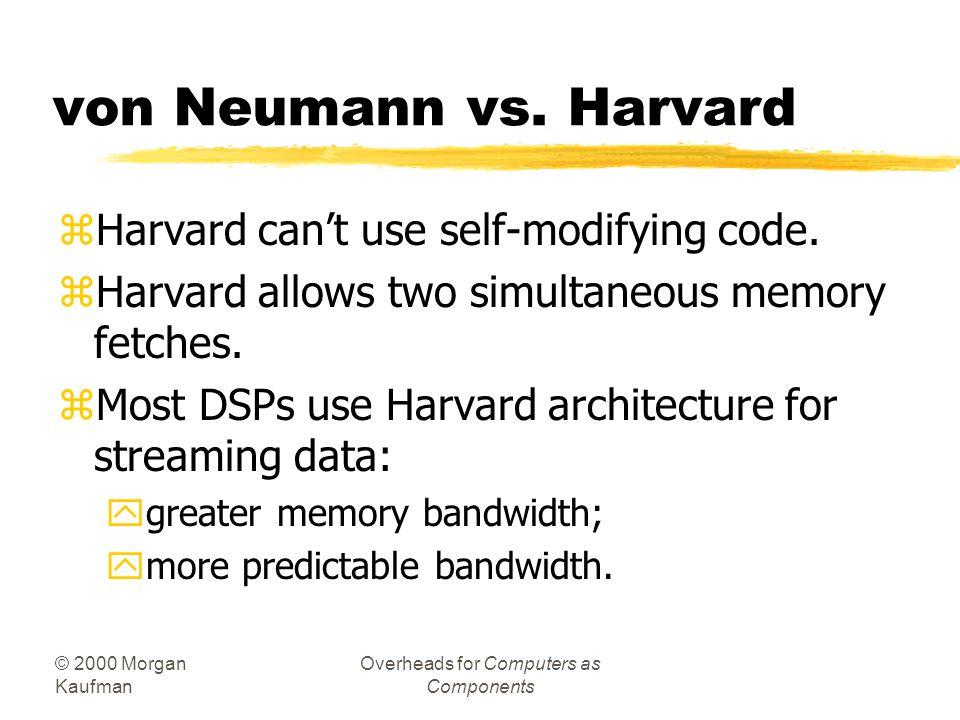 © 2000 Morgan Kaufman Overheads for Computers as Components Harvard architecture CPU PC data memory program memory address data address data