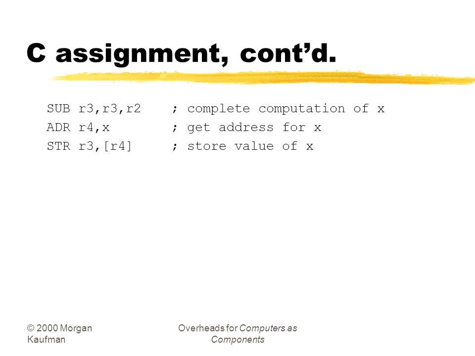 © 2000 Morgan Kaufman Overheads for Computers as Components Example: C assignments (ARM Processor) zC: x = (a + b) - c; zAssembler: ADR r4,a; get addr