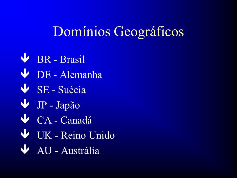 Domínios Geográficos ê BR - Brasil ê DE - Alemanha ê SE - Suécia ê JP - Japão ê CA - Canadá ê UK - Reino Unido ê AU - Austrália