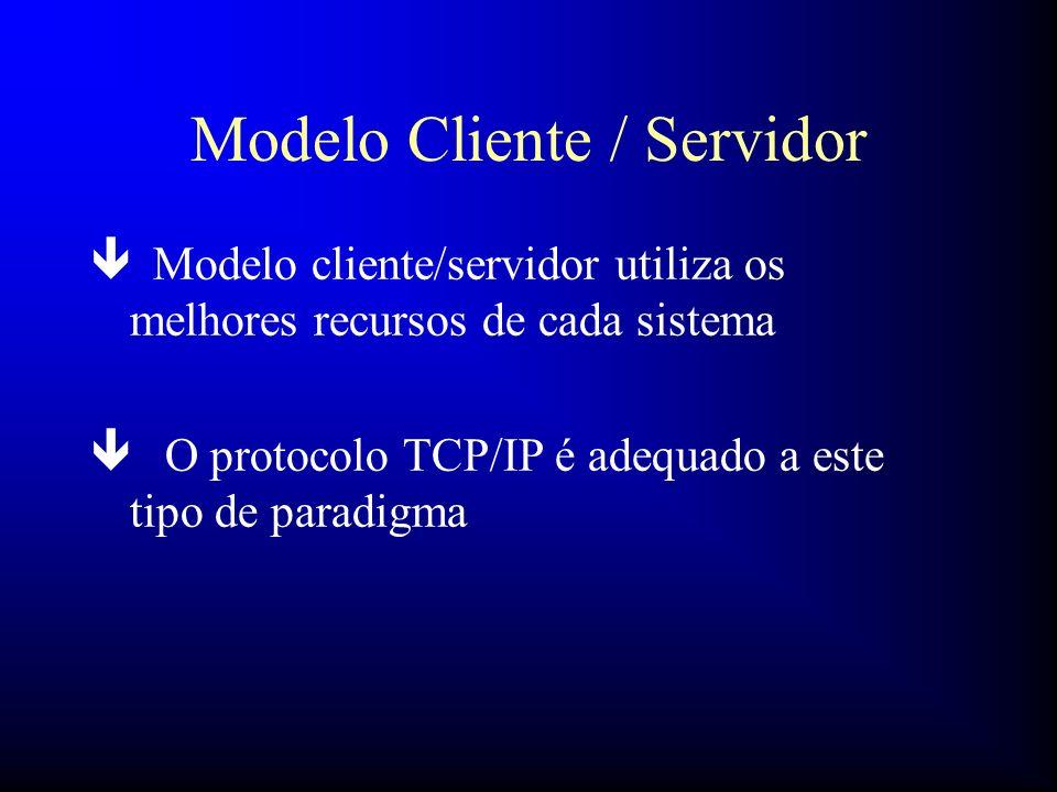 Modelo Cliente / Servidor ê Modelo cliente/servidor utiliza os melhores recursos de cada sistema ê O protocolo TCP/IP é adequado a este tipo de paradi