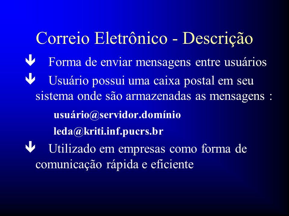 Correio Eletrônico - Descrição ê Forma de enviar mensagens entre usuários ê Usuário possui uma caixa postal em seu sistema onde são armazenadas as men
