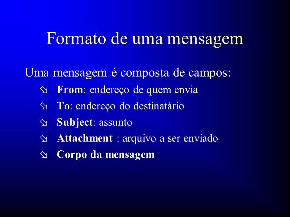 Formato de uma mensagem Uma mensagem é composta de campos: ø From: endereço de quem envia ø To: endereço do destinatário ø Subject: assunto ø Attachme