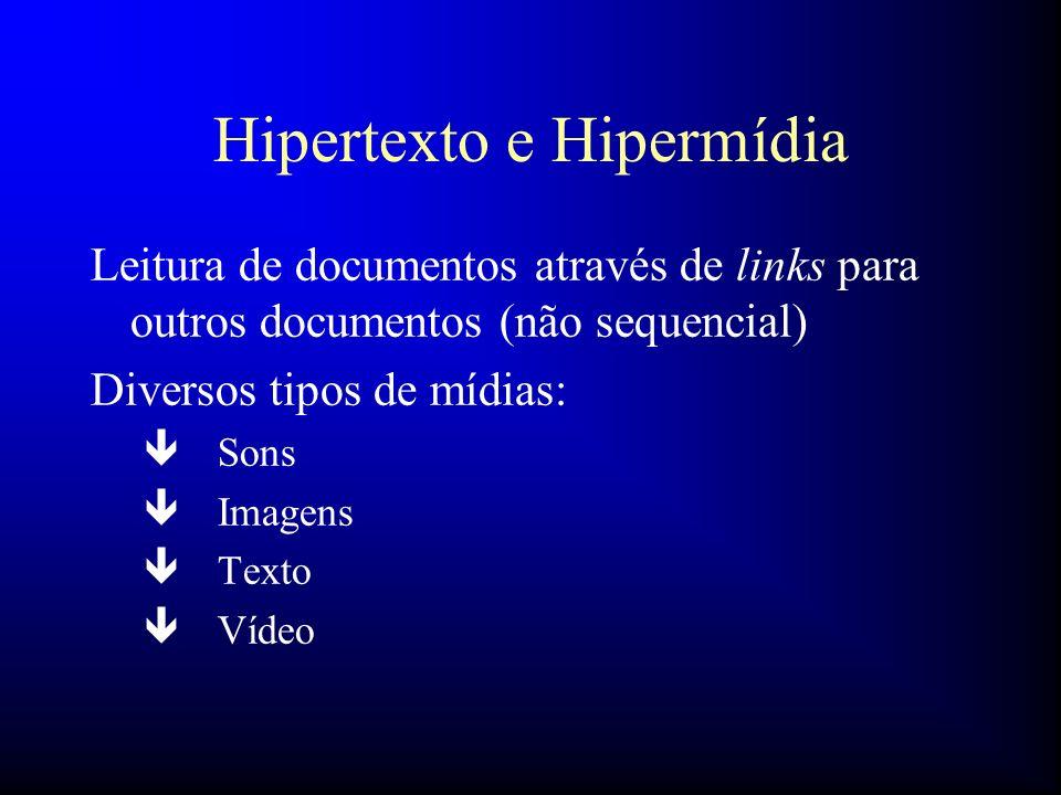Hipertexto e Hipermídia Leitura de documentos através de links para outros documentos (não sequencial) Diversos tipos de mídias: ê Sons ê Imagens ê Te