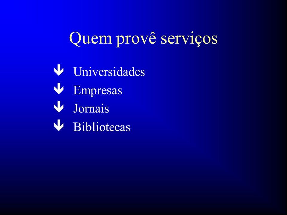 Quem provê serviços ê Universidades ê Empresas ê Jornais ê Bibliotecas