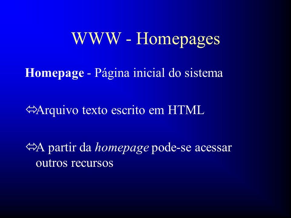 WWW - Homepages Homepage - Página inicial do sistema óArquivo texto escrito em HTML óA partir da homepage pode-se acessar outros recursos