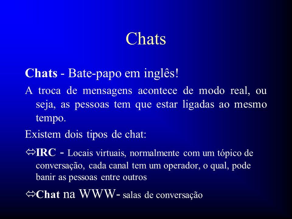 Chats Chats - Bate-papo em inglês! A troca de mensagens acontece de modo real, ou seja, as pessoas tem que estar ligadas ao mesmo tempo. Existem dois