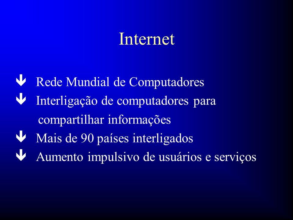 Internet ê Rede Mundial de Computadores ê Interligação de computadores para compartilhar informações ê Mais de 90 países interligados ê Aumento impuls
