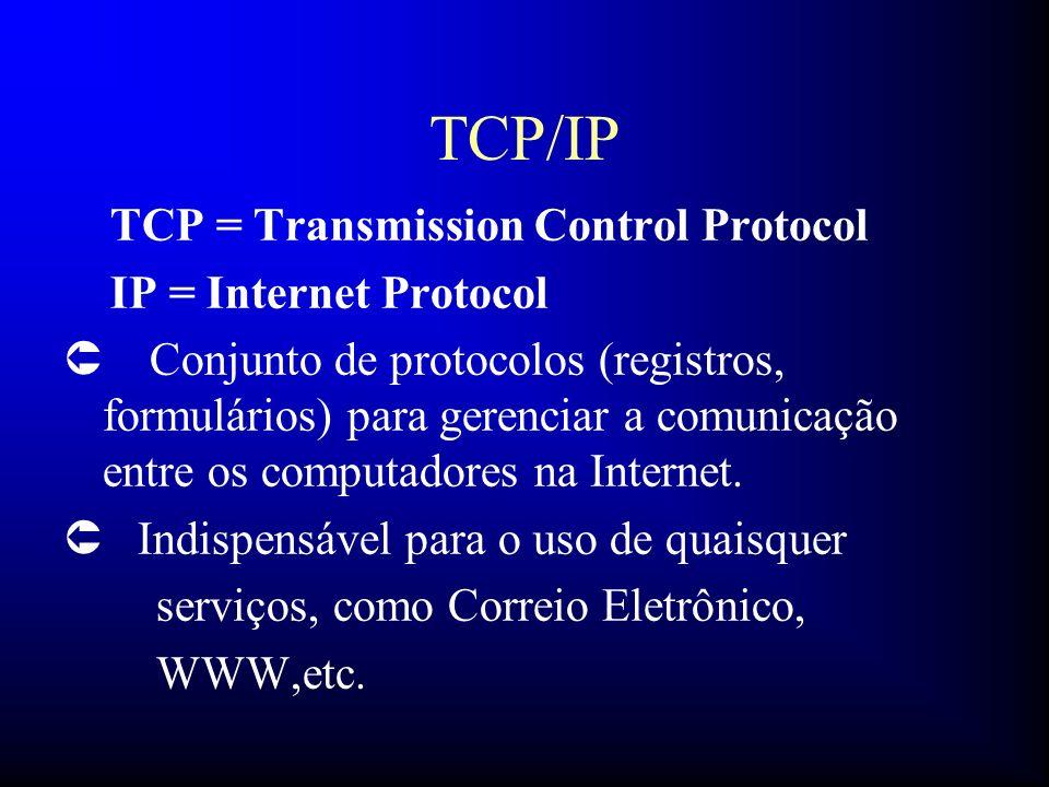 TCP/IP TCP = Transmission Control Protocol IP = Internet Protocol Û Conjunto de protocolos (registros, formulários) para gerenciar a comunicação entre