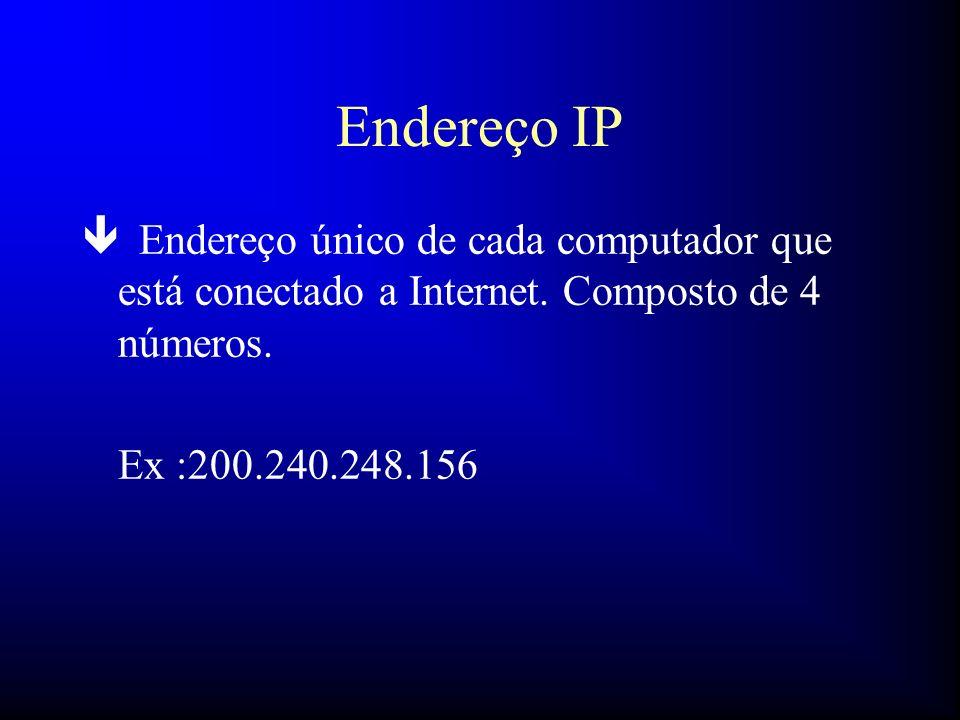 Endereço IP ê Endereço único de cada computador que está conectado a Internet. Composto de 4 números. Ex :200.240.248.156