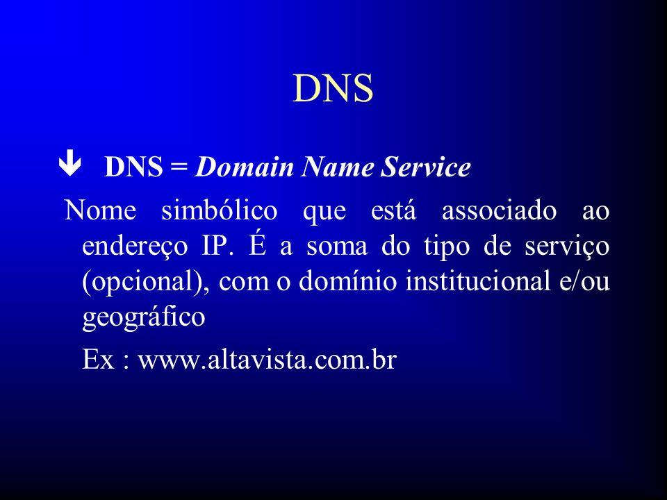 DNS ê DNS = Domain Name Service Nome simbólico que está associado ao endereço IP. É a soma do tipo de serviço (opcional), com o domínio institucional