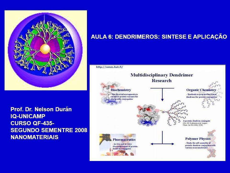 AULA 6: DENDRIMEROS: SINTESE E APLICAÇÃO Prof. Dr. Nelson Durán IQ-UNICAMP CURSO QF-435- SEGUNDO SEMENTRE 2008 NANOMATERIAIS