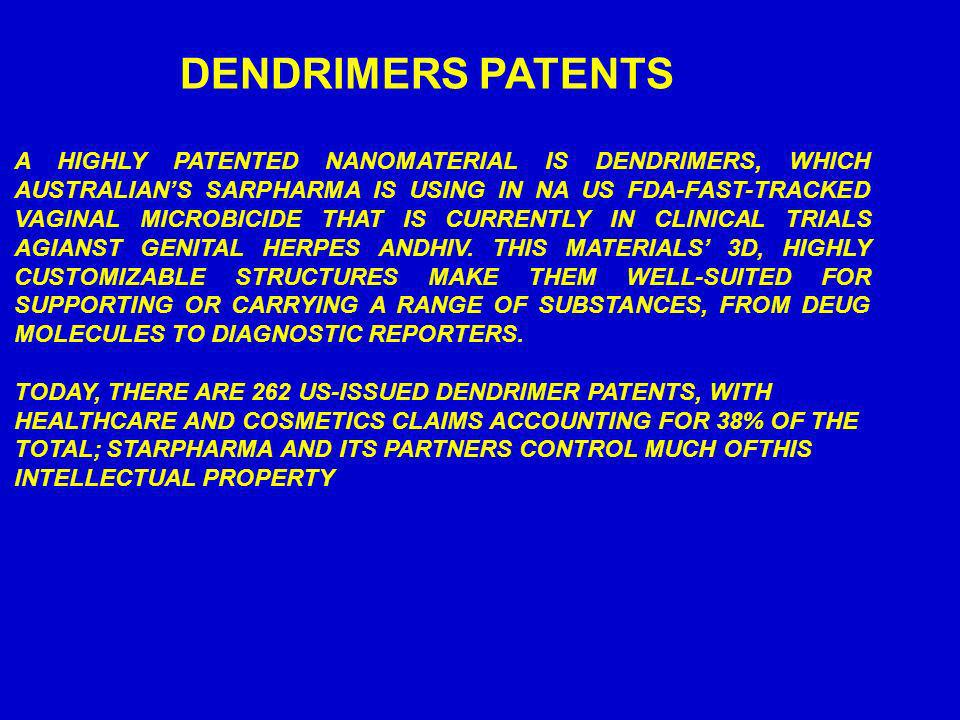 DENDRIMERS PATENTS A HIGHLY PATENTED NANOMATERIAL IS DENDRIMERS, WHICH AUSTRALIANS SARPHARMA IS USING IN NA US FDA-FAST-TRACKED VAGINAL MICROBICIDE TH