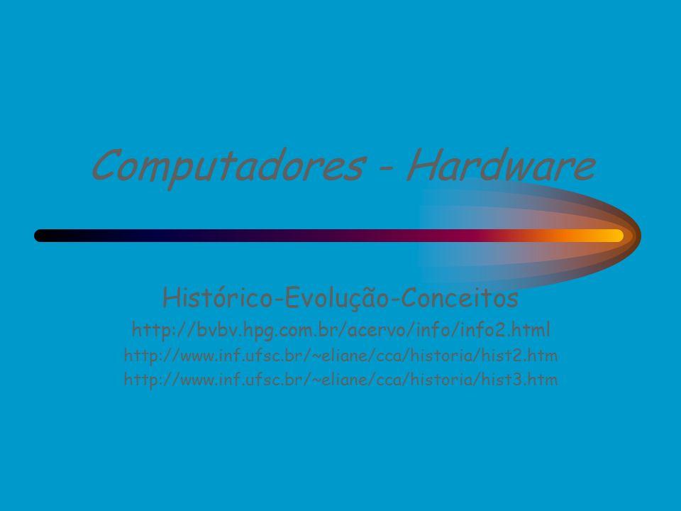 Computadores - Hardware Histórico-Evolução-Conceitos http://bvbv.hpg.com.br/acervo/info/info2.html http://www.inf.ufsc.br/~eliane/cca/historia/hist2.h