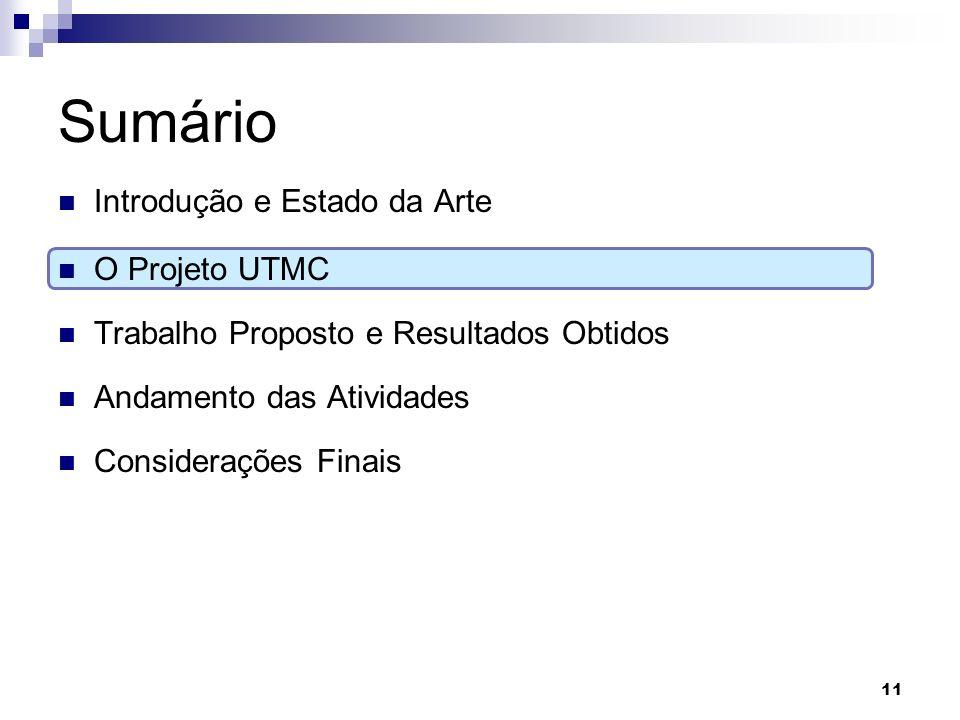 Sumário Introdução e Estado da Arte O Projeto UTMC Trabalho Proposto e Resultados Obtidos Andamento das Atividades Considerações Finais 11