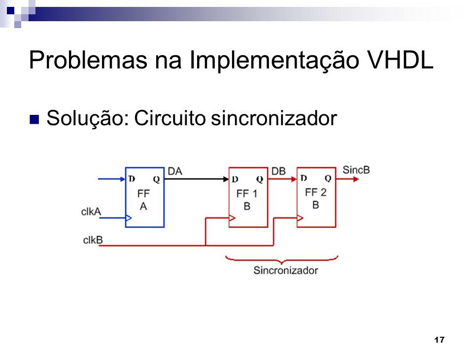 Problemas na Implementação VHDL Solução: Circuito sincronizador 17