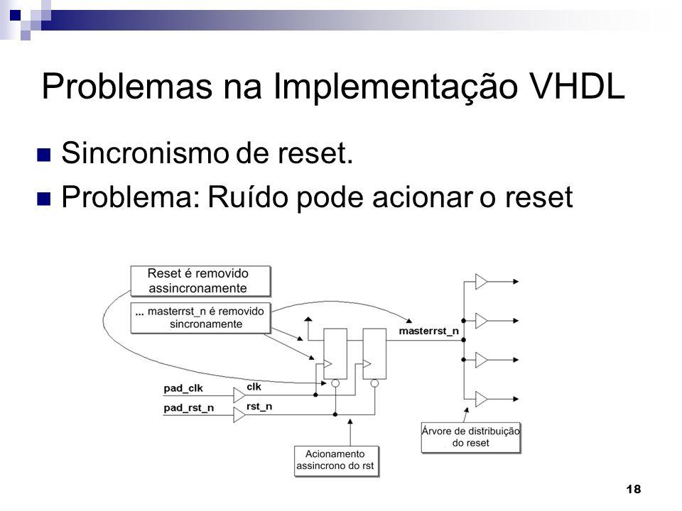 Sincronismo de reset. Problema: Ruído pode acionar o reset Problemas na Implementação VHDL 18
