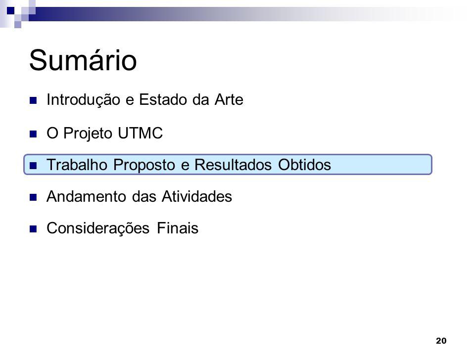 Sumário Introdução e Estado da Arte O Projeto UTMC Trabalho Proposto e Resultados Obtidos Andamento das Atividades Considerações Finais 20