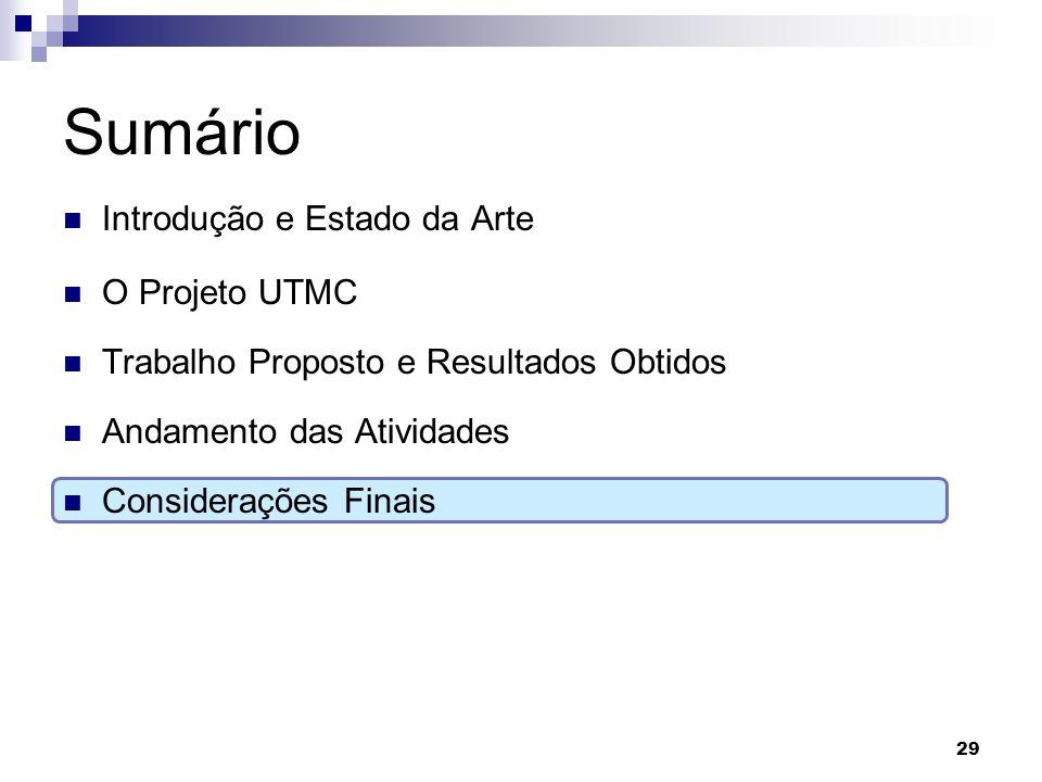 Sumário Introdução e Estado da Arte O Projeto UTMC Trabalho Proposto e Resultados Obtidos Andamento das Atividades Considerações Finais 29